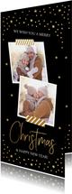 Kerstkaart langwerpig hout goud confetti