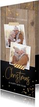 Kerstkaart langwerpig hout goudlook confetti