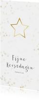 Kerstkaart langwerpig kerstster van goud - Een gouden kerst