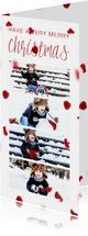Kerstkaart langwerpig met foto's en rode blaadjes