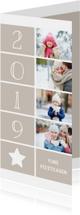 Kerstkaart langwerpig met foto's, ster en jaartal 2019