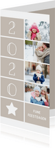 Kerstkaart langwerpig met foto's, ster en jaartal 2020