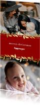 Kerstkaart langwerpig met gouden bloemenkader en foto's