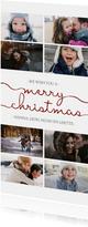 Kerstkaart langwerpig met sierlijke letters en foto's