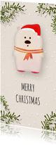 Kerstkaart langwerpig witte ijsbeer