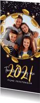 Kerstkaart luxe goud 2021 fijne feestdagen bladeren foto