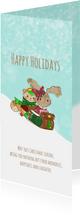 Kerstkaart Maple and Chestnut Sneeuw pret