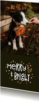Kerstkaart merry and bright goudlook met foto