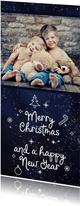 Kerstkaart Merry Christmas sneeuw en foto