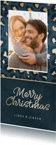 Kerstkaart met blauw/gouden panterprint en foto
