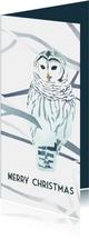 Kerstkaart met een geïllustreerde sneeuwuil