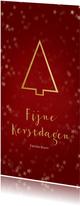 Kerstkaart met een gouden kerstboom - Een gouden kerst