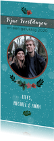 Kerstkaart met foto en winterkrans
