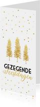 Kerstkaart met gouden kerstbomen