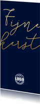 Kerstkaart met gouden tekst en logo langwerpig
