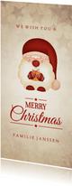 Kerstkaart met kerstkabouter vintage Merry Christmas