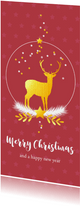 Kerstkaart met sneeuwbol met rendier en sterren