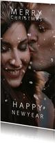 Kerstkaart met sneeuweffect over je foto Merry & Happy