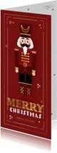 Kerstkaart notenkraker vintage rood kerst speelgoed
