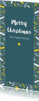 Kerstkaart rand met takjes en sterren