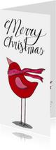 Kerstkaart rode vogel