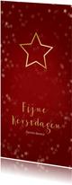 Kerstkaart rood en kerstster van goud - Een gouden kerst