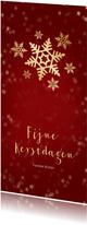 Kerstkaart rood langwerpig sneeuwvlok - Een gouden kerst