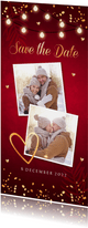 Kerstkaart Save the Date rood confetti goudlook