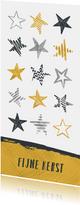 Kerstkaart sterren in zilver en goud
