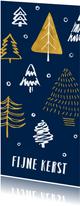 Kerstkaart stoer getekende kerstbomen