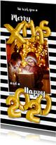 Kerstkaart streep zwart wit ballonnen goud  xmas