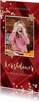 Kerstkaart uitnodiging kerstdiner ruitjes rood confetti goud
