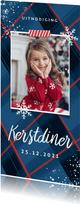 Kerstkaart uitnodiging kerstdiner ruitjes sneeuw foto