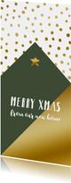 Kerstkaart verhuiskaart hip huisje stippen goudlook