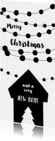 Kerstkaart verhuizen housewarming slingers