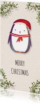 Kerstkaart vierkant pinguïn