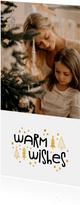 Kerstkaart warm wishes goudlook met foto