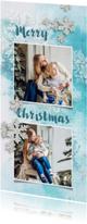 Kerstkaart winters blauw met foto