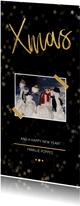 Kerstkaart Xmas zwart met foto en goud - Een gouden kerst