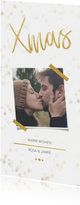 Kerstkaart Xmas wit met foto en goud - Een gouden kerst