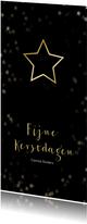 Kerstkaart zwart en kerstster van goud - Een gouden kerst