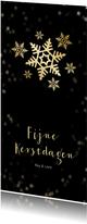 Kerstkaart zwart langwerpig sneeuwvlok - Een gouden kerst