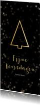 Kerstkaart zwart met gouden kerstboom - Een gouden kerst