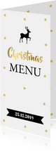 Kerstmenukaart langwerpig sterren goud banner
