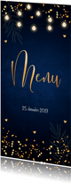Kerstmenukaart blauw confetti goudlook