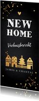 Kerstverhuiskaart huisjes confetti goudlook