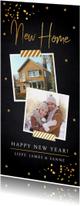 Kerstverhuiskaart langwerpig goud confetti foto
