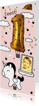 Kinderfeestje 1 jaar goud unicorn luchtballon