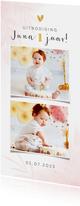 Kinderfeestje eerste verjaardag fotokaart meisje waterverf