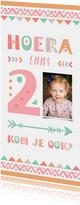 Kinderfeestje tribalstijl uitnodiging 2 jaar meisje
